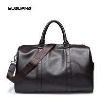 Fashion mens leather travel bag vintage duffle handbags large men business luggage bag with shoulder strap
