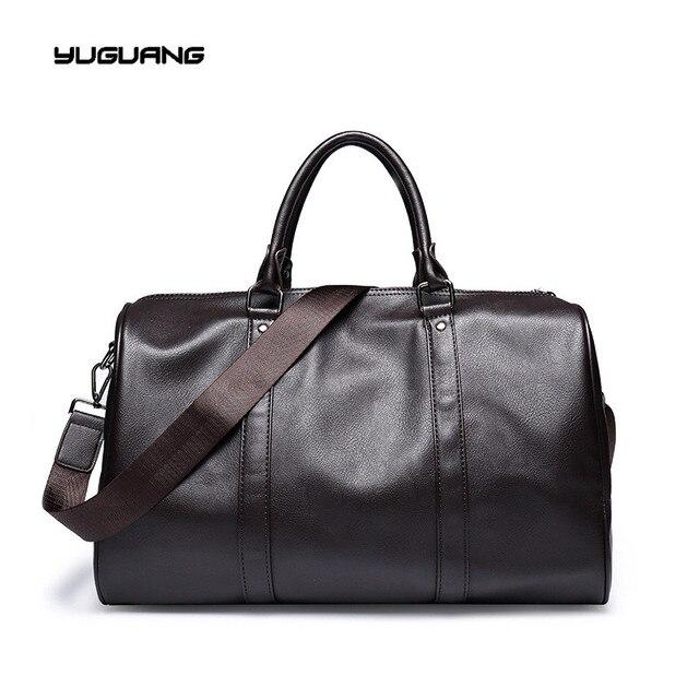 7a8e4250b Moda para hombre bolsa de viaje de cuero bolsos de lona de la vendimia gran  equipaje