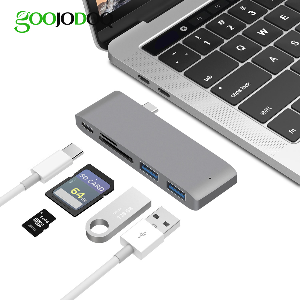 5 IN 1 USB Type C Hub USB-C Adapter with Type-C Power Delivery 2 USB 3.0 Ports SD/Micro SD Card Reader for MacBook USB C Hub