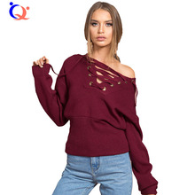 2016 Autumn New Fashion Women Lace Up Sweater Long Sleeve V neck Drop Shoulder Knit Crop