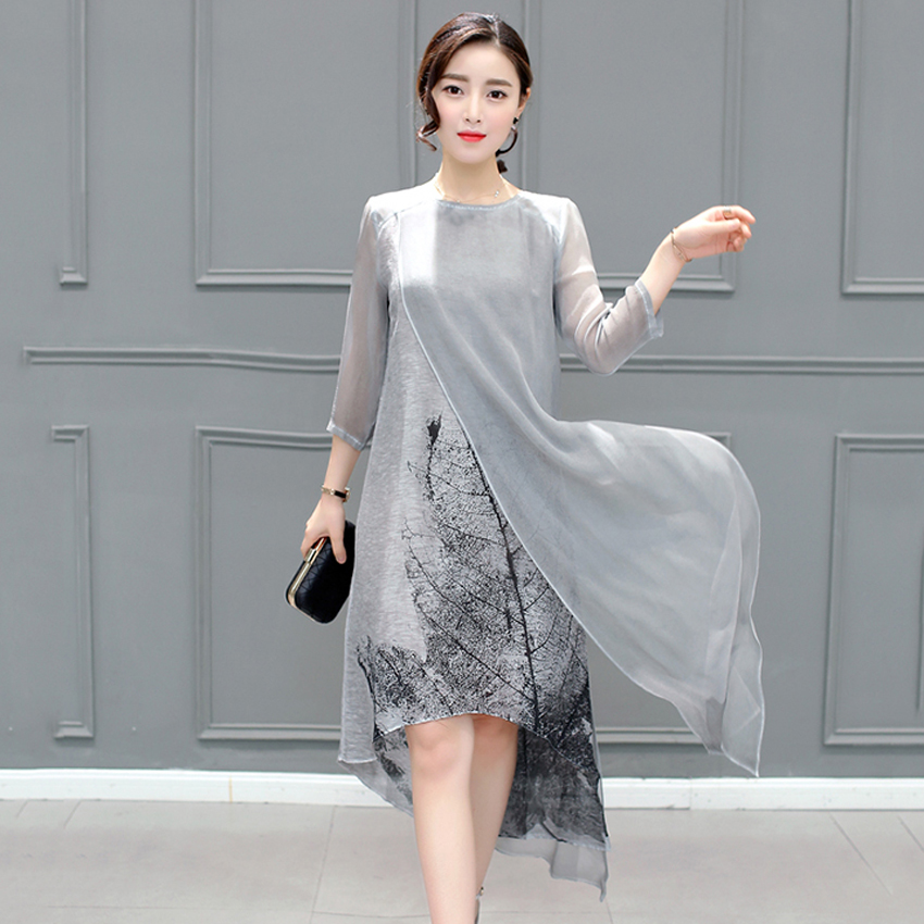 Vintage Floral Printed Women Dresses Fashion O-Neck 3/4 Sleeves Female Summer Vestidos Plus Size Maxi Loose Dress 4XL Gray 1E53A