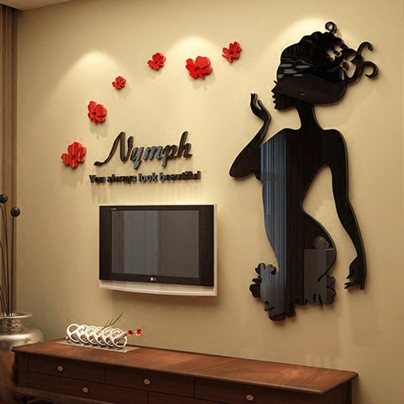 Nymphe belle fille Design personnalisé acrylique autocollants bricolage salon magasin décorations