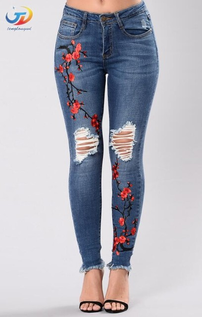 0a00bca904c35 Tenglongwl alta cintura azul bordado Jeans rasgados mujer moda Floral Denim  Pantalones para las mujeres Jeans