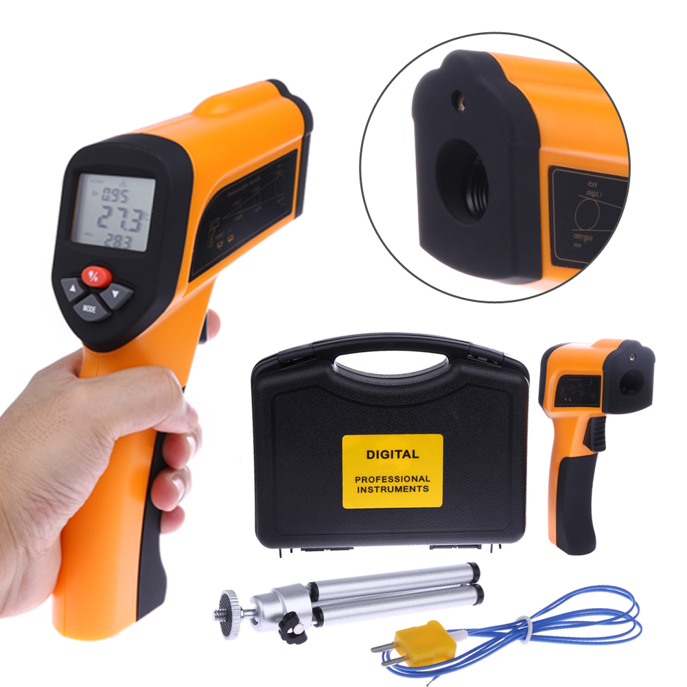 Non-Contact Digital Laser Infrared Thermometer Type-K Input High Temperature Pyrometer IR Laser Point Gun Meter -50 to 1650 C mc 7806 digital moisture analyzer price with pin type cotton paper building tobacco moisture meter