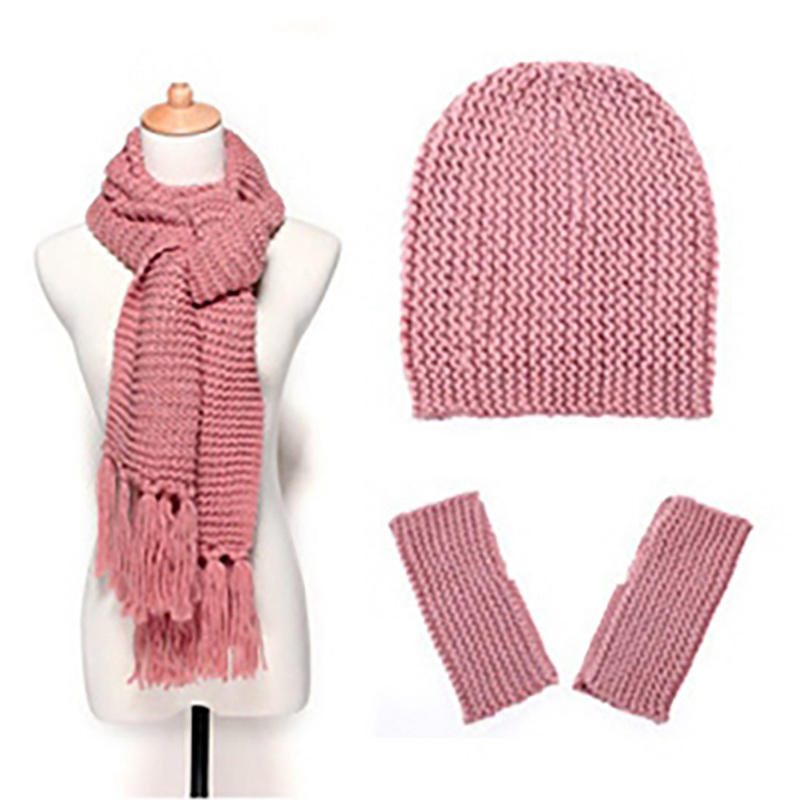 Women Warm Hat Scarf Gloves Sets  Female Hat Scarf + Warm Hat Knitted Winter 3 PCS Sets