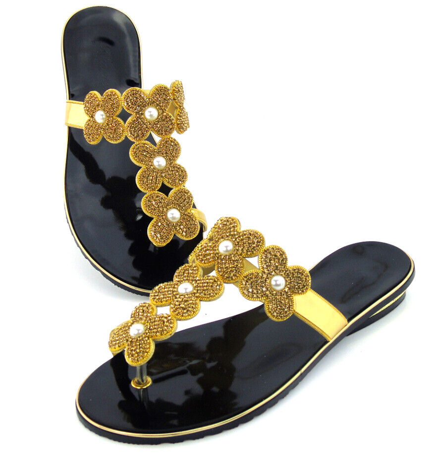 doershow free shipping top quality African sandals for party,fashion style ladies shoes with rhinestones! !DD1-82 capputine new summer sandals woman shoes 2017 fashion african casual sandals for ladies free shipping size 37 43 abs1115