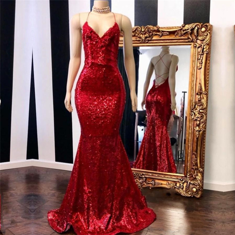 Vestidos De Gala Sexy Red Criss-Cross Back Long   Prom     Dress   2019 Halter V-Neck Sparkly Sequined Mermaid   Prom   Gowns