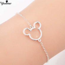 Yiustar Mouse Animal Charms Mickey Bracelets & Bangles Women Jewelries Stainless Steel Cartoon Mouse Christmas Gift bijoux femme(China)