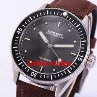 43 мм Debert Сапфир серый циферблат черный ободок Miyota 821A Автоматическая Мужские наручные часы