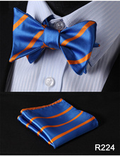 Striped 100%Silk Jacquard Woven Men Butterfly Self Bow Tie BowTie Pocket Square Handkerchief Hanky Suit Set #RS1