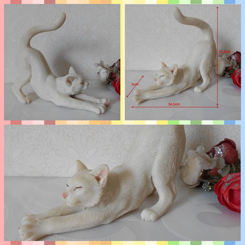 Free shipping Stretching Lazy Cat Vivid Lifelike Figures Resin toy cute Kitten cake home office car decoration party supply gift