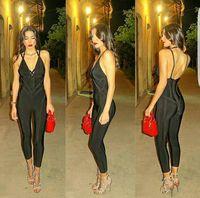 Black Color Ladies HL Bandage Jumpsuit Full Length Sexy V Neck Fashion Jumpsuit High Quality