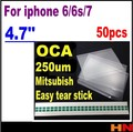 50pcs 6s 7 OCA adhesive double side sticker glue for iPhone 6 6s 7 4.7''  250um thick  for Mit for formitsu