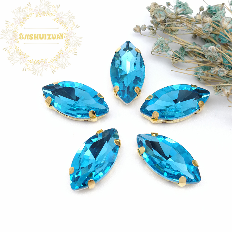 New product Horse eye Turquoise blue Crystal Glass Sewing Rhinestones with gold Claw DIY Wedding Dresses