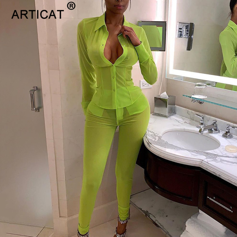 Articat Mesh See Through Sexy   Jumpsuit   Women Long Sleeve Buttons Summer Rompers Skinny Pencil Pants Two Piece Set Women Outfits