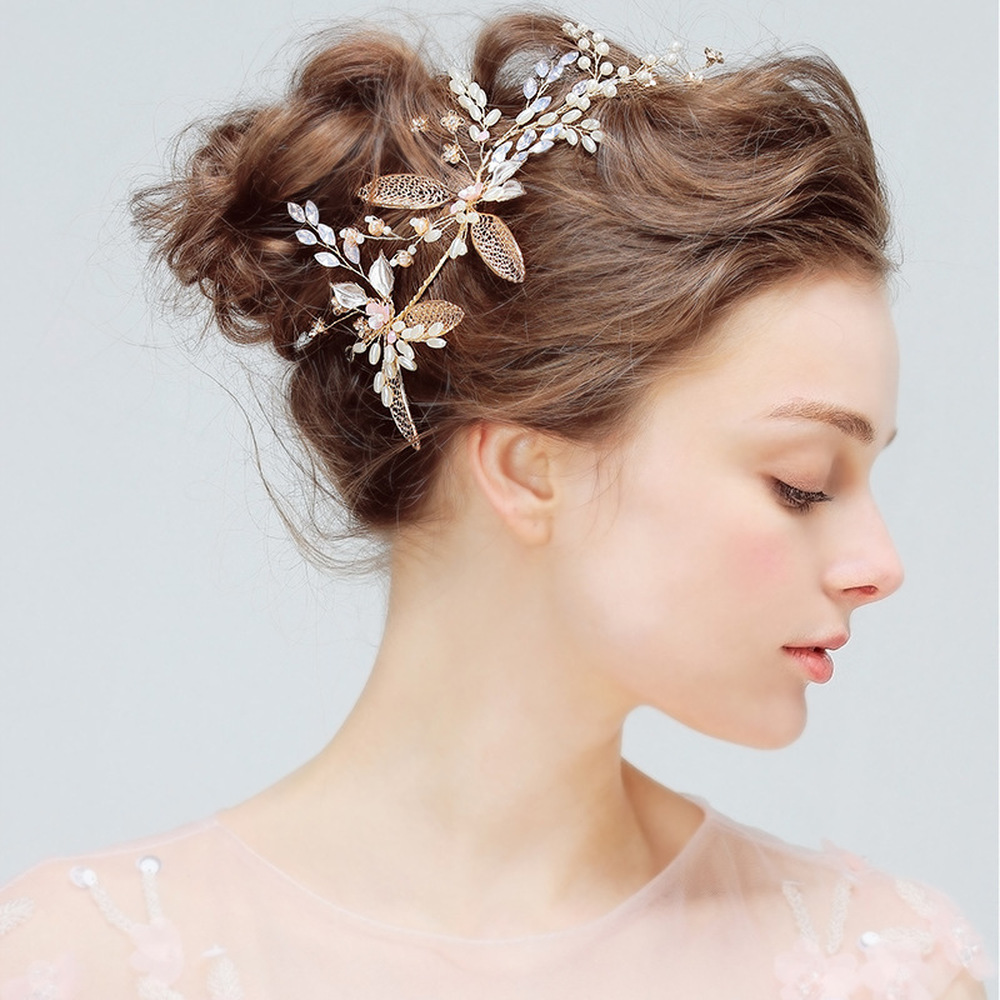 us $14.39 |leliin vintage leaf pearls headband wedding bridal bride bridesmaid crystal hair vine headpiece hair accessories bohemian-in hair jewelry