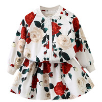Girls Clothing Sets 2017 New Autumn Fashion Children Clothes Long Sleeve Rose Floral Coat Skirts 2PCS