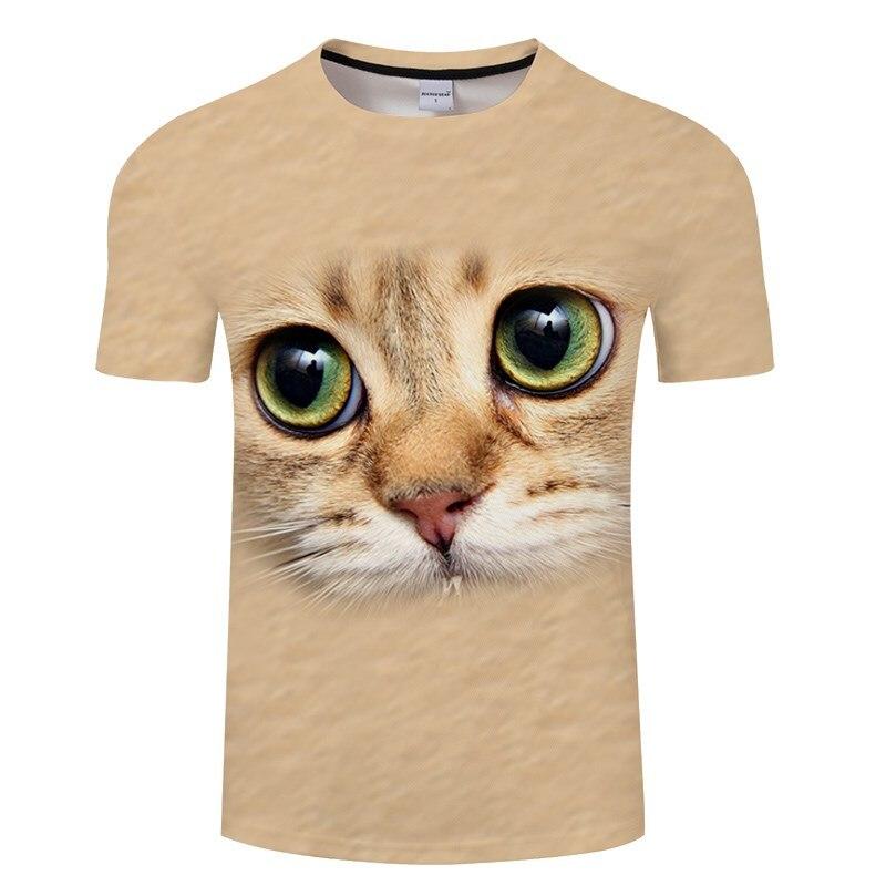 Черная футболка с 3D принтом кота для мужчин и женщин, летняя повседневная футболка с коротким рукавом и круглым вырезом, Топы И Футболки, Забавные футболки, Азиатские размеры S-6XL - Цвет: TXKH3138