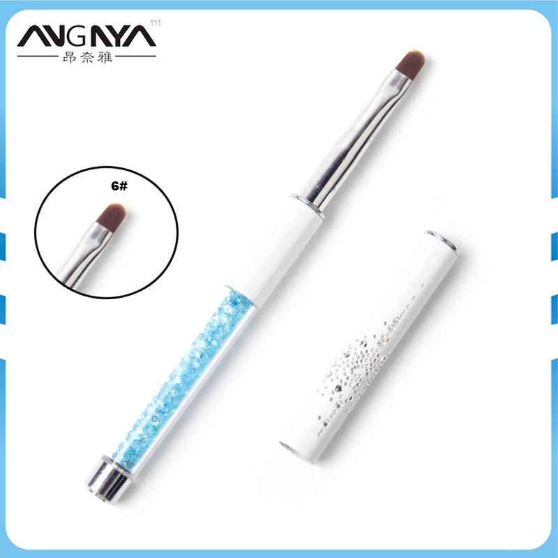 ANGNYA Nail Cleaning Brush UV Gel Powder Dust Cuticle Clean Brushes #6 Metal Handle With Blue Rhinestone Manicure Nail Art Tool