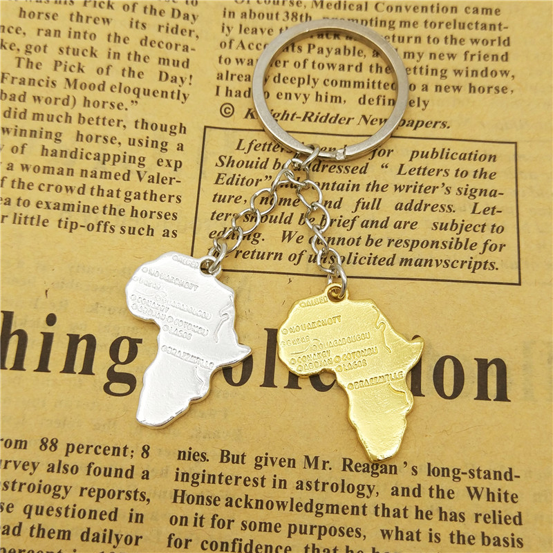 LPHZQH wholesale trendy Africa map keychain women bag car Key ring African  metal pendant fashion jewelery gold silver color