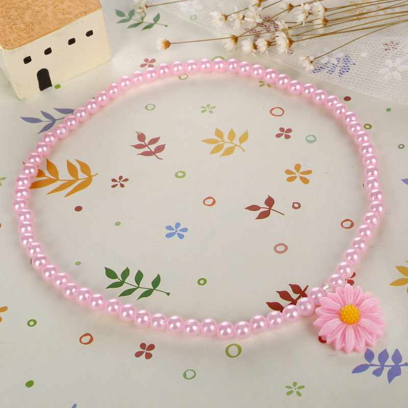 Sweet Style Imitation Pearl Beaded Kid Jewelry Resin Daisy Flower Pendant Necklace Bracelet Ring Jewelry Sets 3pcs/lot