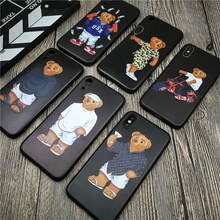 France Luxury Bear soft phone cover case for iphone X XS MAX XR 8 7 6 6s plus matte silicone cases 3D Super relief coque fundas
