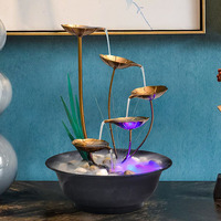 Fountain Water Fountain Home Decoration Ornaments Wrought Iron Fountain Office Desktop Living Room Creative Birthday Gifts Bonsa