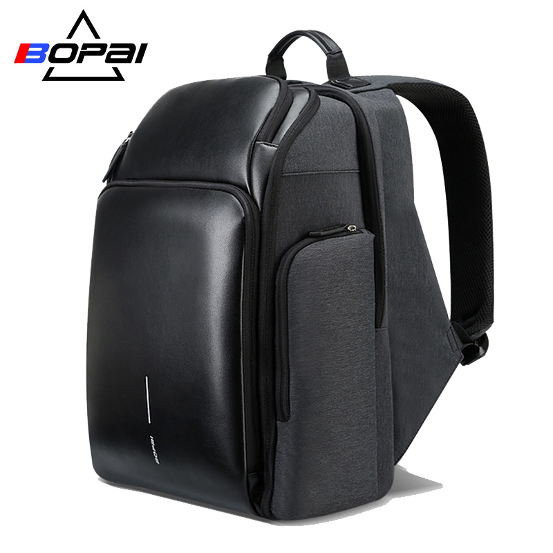 BOPAI 2018 New Men Backpack USB Charging Bag 15 6inch Laptop Backpack Anti theft High Capacity