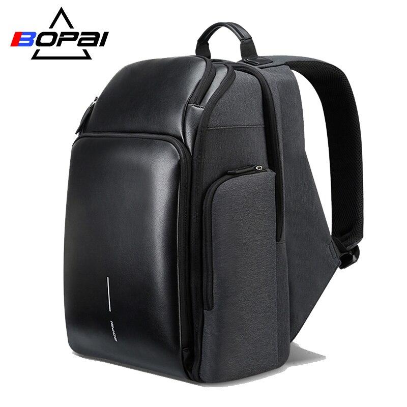 BOPAI 2018 새로운 남자 배낭 USB 충전 가방 15.6inch - 백팩