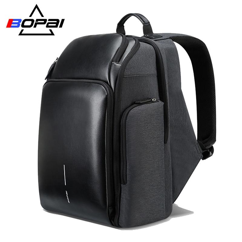 BOPAI 2018 جديد الرجال على ظهره USB شحن حقيبة 15.6 بوصة محمول على ظهره مكافحة سرقة قدرة عالية للماء الرجال حقيبة السفر-في حقائب الظهر من حقائب وأمتعة على  مجموعة 1