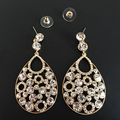 Water Drop Austrian Crystal Big Earrings Long Ethnic Earrings For Women Female Turkish Jewelry 3 Colors Party Hyperbole Earrings