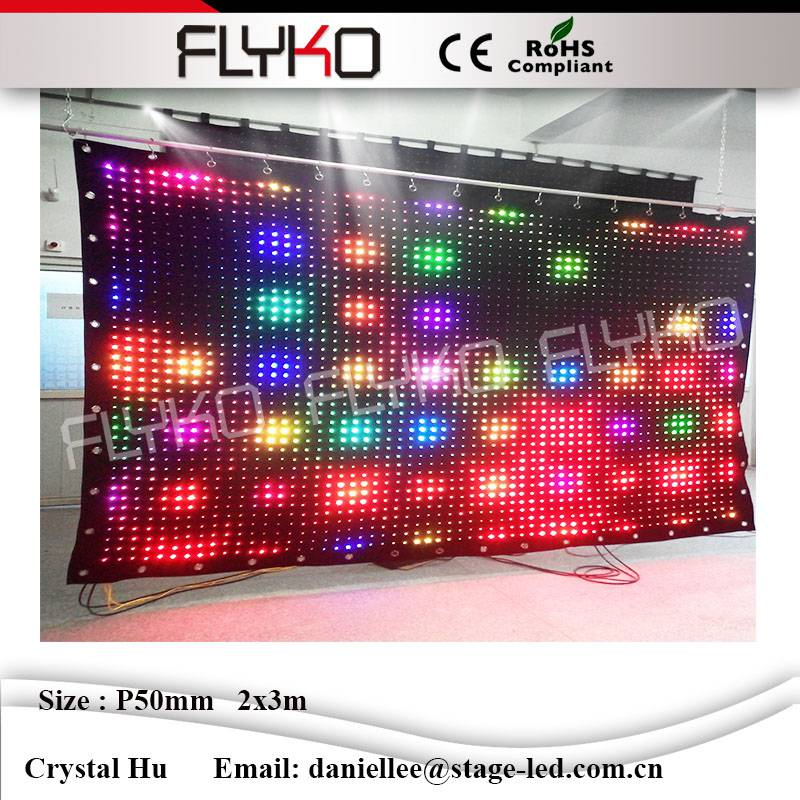 P5cm 2x3m magic show led video curtain/ strong led cloth from FLYKO led curtain