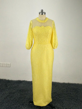 2017 Straight Yellow Evening Dresses Jewel Neckline Beaded Long Sleeves Floor Length Party Prom Gowns