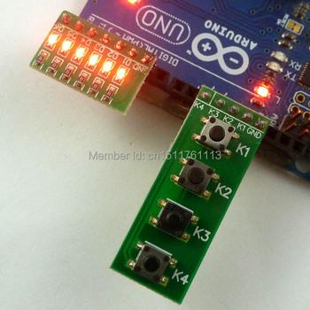4 przycisk klawiatura klawiatura przełącznik taktowania i 6 bitów czerwony moduł LED kiy dla Arduino UNO MEGA2560 Pro mini deska do krojenia chleba tanie i dobre opinie Composite materials -35-80 Degrees Celsius 10-20MW 3-12V led button MCU Development Board