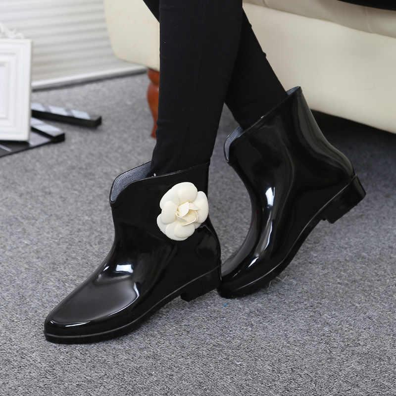 Kadın çiçek papyon bahar bileğe kadar bot kış yağmur çizmeleri kadın su geçirmez katı kauçuk Platform bebek yağmur ayakkabıları kadın ayakkabıları