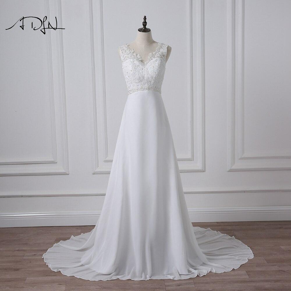 ADLN Chiffon Beach Wedding Dresses White Ivory Boho Bridal Gown Vestidos de Novia V neck Beaded