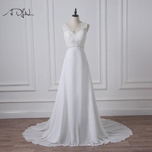ADLN מלאי שיפון חוף חתונת שמלות לבן/שנהב Boho כלה שמלת Vestidos דה Novia V צוואר חרוזים בתוספת גודל כלה שמלה
