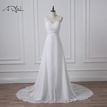 Adln estoque chiffon praia vestidos de casamento branco/marfim boho vestido de noiva vestidos de novia v neck frisado vestido de noiva tamanhos grandes