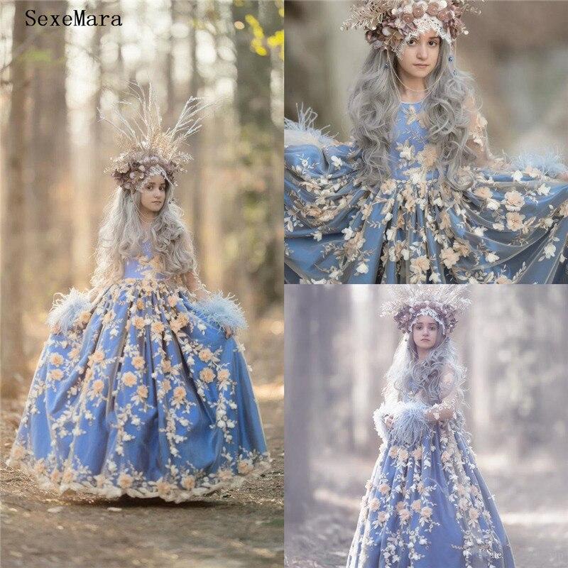 Новейшие Великолепные Платья с цветочным узором для девочек; кружевное платье с объемной цветочной аппликацией для девочек; нарядное платье для дня рождения; Size2 16Y