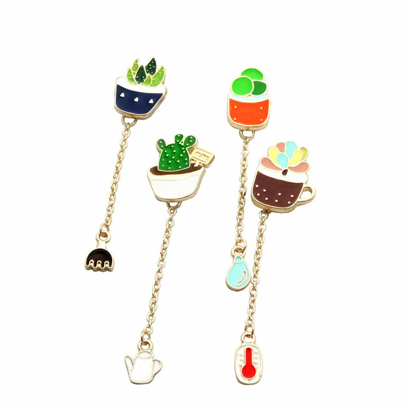 DIY Aloe vera Cactus Colorful Enamel Pins Set For Clothes hat bag Cartoon chain Brooches Succulents Plant Cactus Jacket Badge