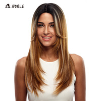 Noble Long Straight Synthetic Hair Lace Front Wig 24 Inch Wigs For Black Women 3 Colors