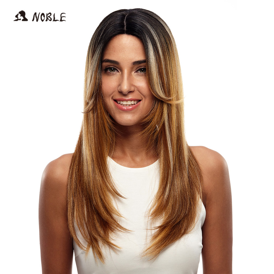 Noble Long Straight Synthetic Hair Lace Part Wig 24 Inch Wigs For Black Women 3 Colors 1B Red Mixed Cosplay Wig Free Shipping
