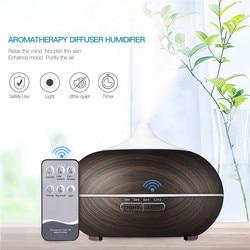 550ML olejku aromaterapeutycznego rozpylacz zapachów ziarna drewna ultradźwiękowy nawilżacz powietrza generator chłodnej mgiełki z 7 kolorowa lampa led