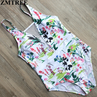 ZMTREE 2017 Newest Floral Print One Piece Swimsuit Plus Size Swimwear Women Sets Sexy Lace Up