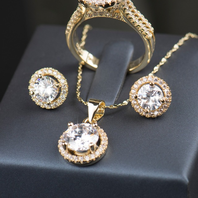 925 Sterling Silver Gold Plated Jewelry Set