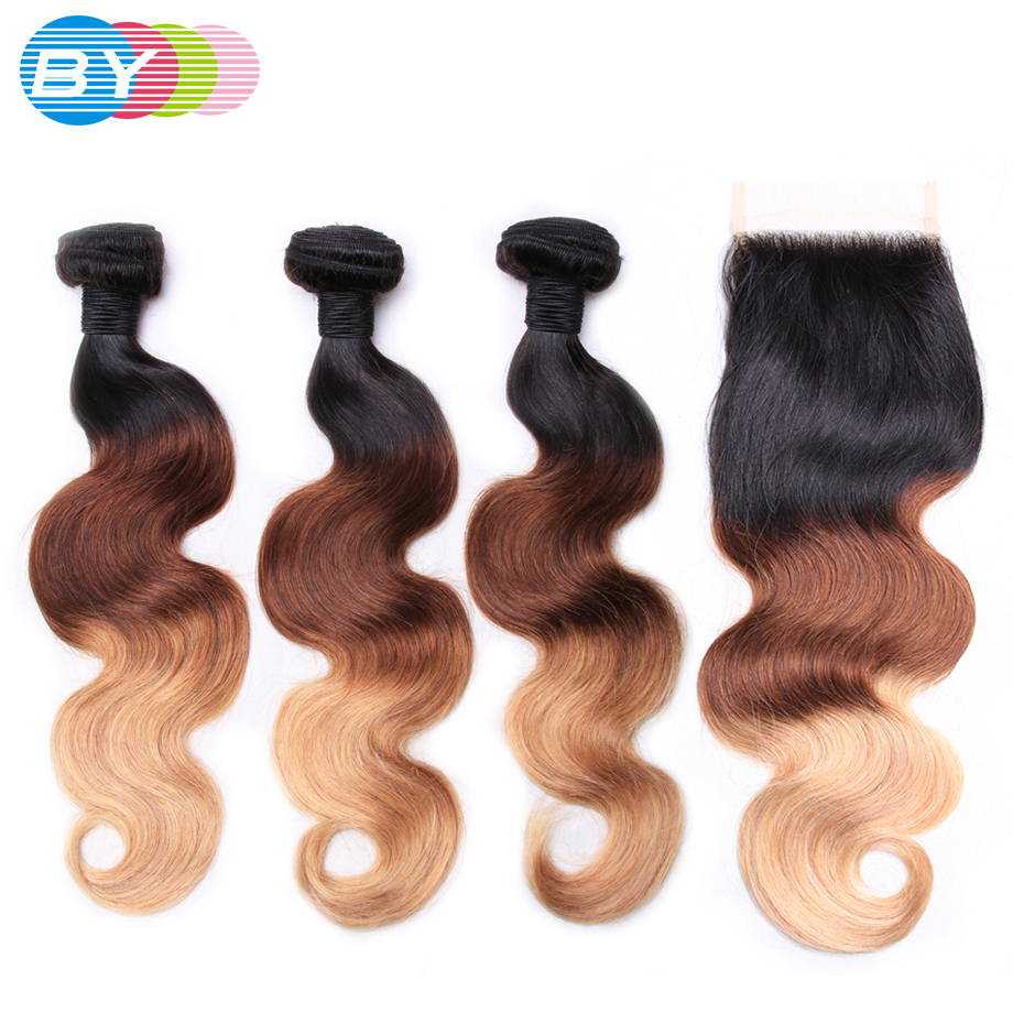 BY Body Wave Bundles With Closure Peruvian Hair Weave Bundles With Closure Remy Ombre Bundles With