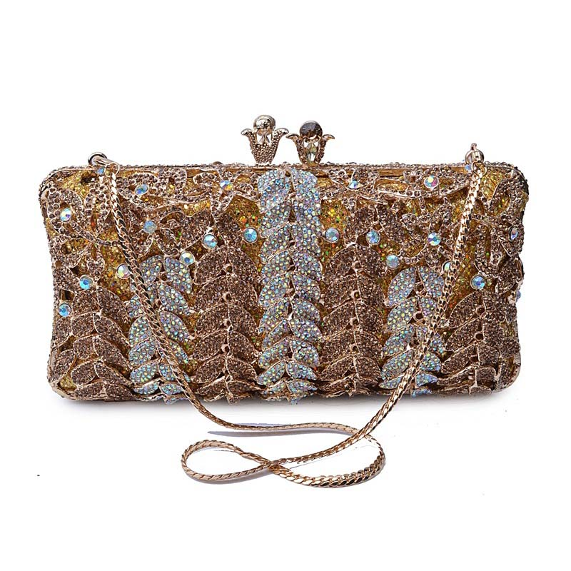 Women Hollow Out Leaves Shape Metal Crystal Bags Wedding Clutch Purses Luxury Evening Clutches Diamond Party Chain Handbag