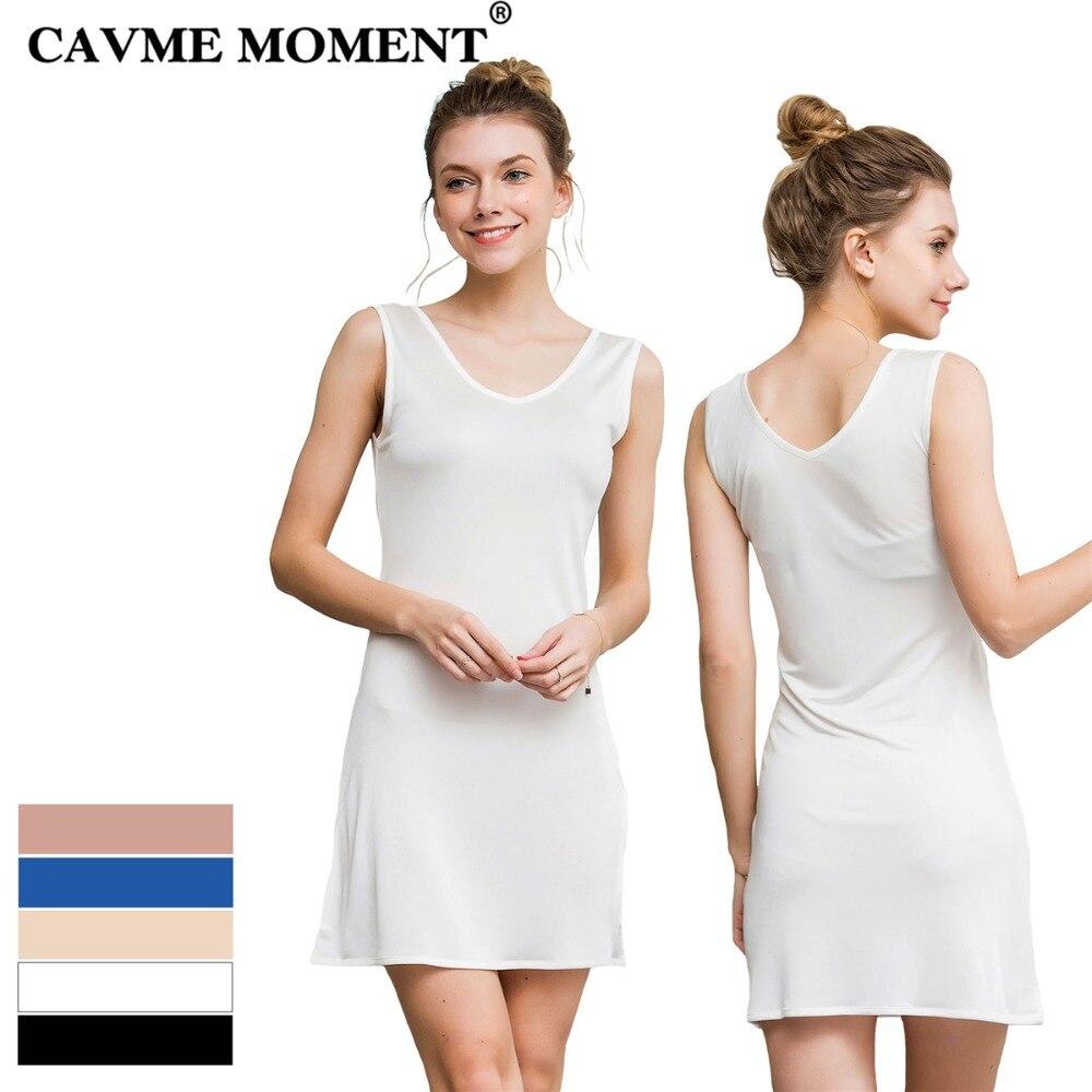 CAVME Plus Size Silk Nightgowns Knitting Sleepshirt Soft Underskirt Solid Color Mini Sleepwear V-Neck Sleeveless Homedress