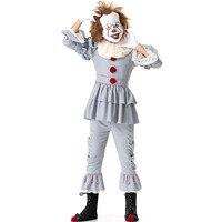 Stephen King's It Pennywise Косплэй костюм для взрослых унисекс Для женщин костюм Хэллоуин террор клоун костюм без обуви и маска