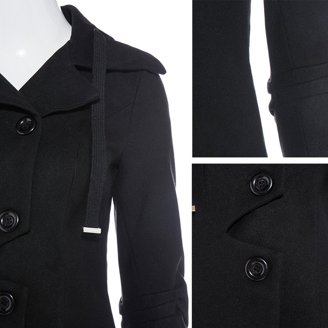 Young17  asymmetric black coat stand collar women overcoat elegant single-breasted button long sleeve slim fall winter 2017 coat
